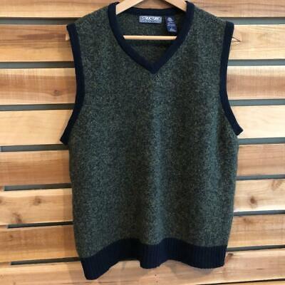 Rare VTG 90s Structure 100% WOOL Sweater Vest Shirt Golf Large
