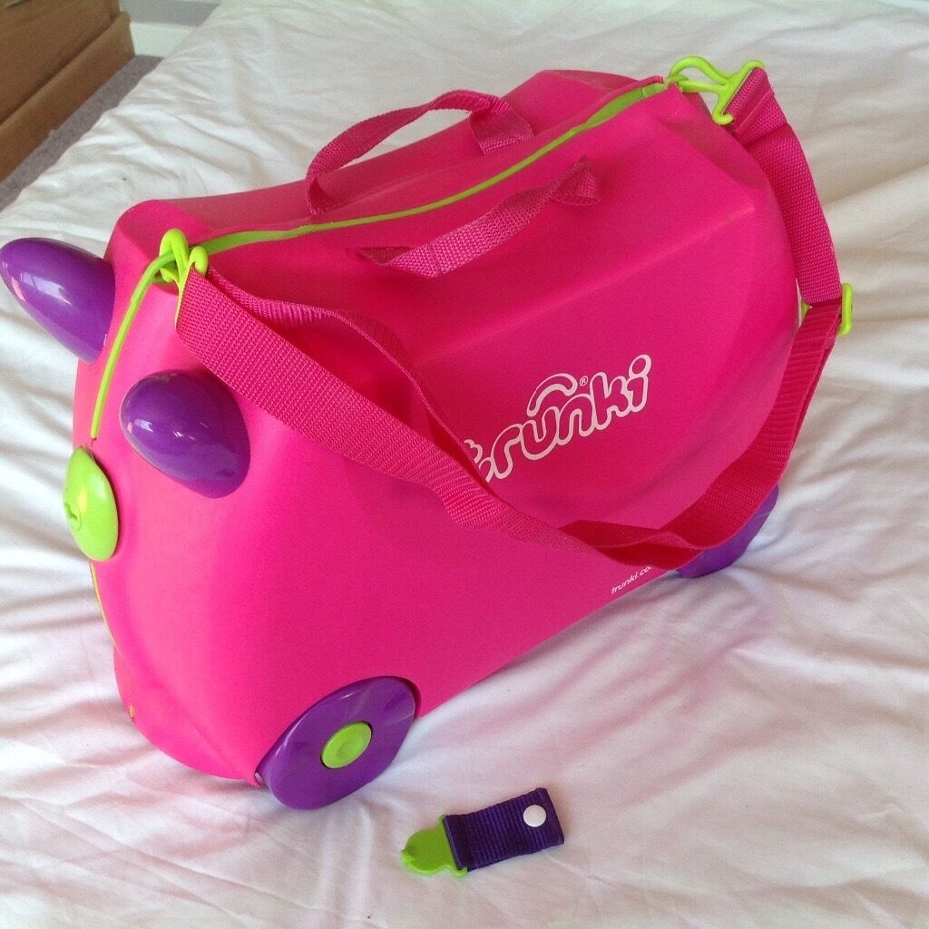 Trunki Trixie ride-on hand luggage suitcase pink with saddle bag ...