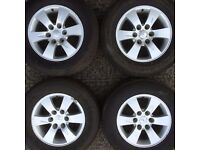Set 4 genuine Mitsubishi L200 Warrior / Shogun 6 stud alloy wheels & tyres