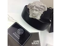 Medusa chrome diamond buckle 95 size shiny black leather belt versace boxed perfect gift for him