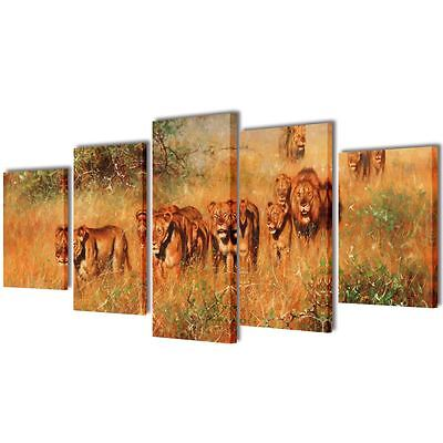 "Canvas Wall Decor Art Painting Modern Home Picture Print Framed Lion 39"" 5 Panel"