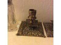 Two vintage brass candleholders