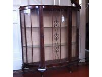 Bow Fronted Vintage Display Cabinet / Can Deliver