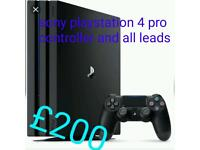 Sony playstation 4 pro controller and all leads 100 % WORKING