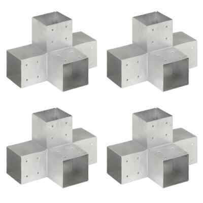 vidaXL 4x Post Connectors X Shape Galvanised Metal 101x101mm Wood Beams Shoe