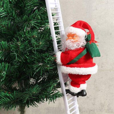 Musical & Animated Santa Claus Christmas Climbing Ladder Decoration Ornament US