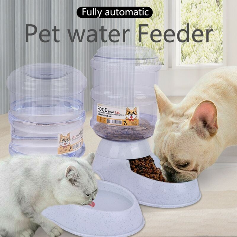 2 Pack 3.8L Automatic Pet Food Dispenser Dog Cat Feeder Waterer Auto Dish Bowl