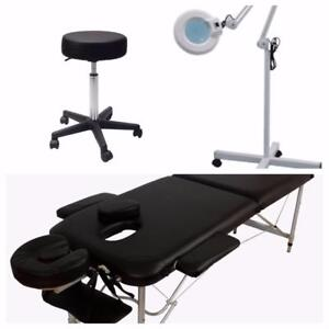 Ensemble complet Table de massage , tabouret et lampe loupe NEUF**289**