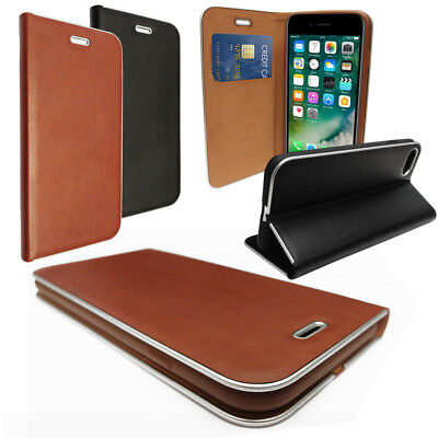 Stylish Leather Wallet Phone Case with Metal Trim - Card Holder & Media Stand Media Wallet Case