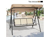 Costway UK Outdoor Canopy Swing Chair 3 Seater Hammock Garden Patio Lounger Bench Seat