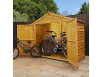 Wooden bike store - Overlap cladding / Apex sand felt roof