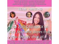 Cashback 20% im looking to recruit people wanting to earn an extra income must to self motivated