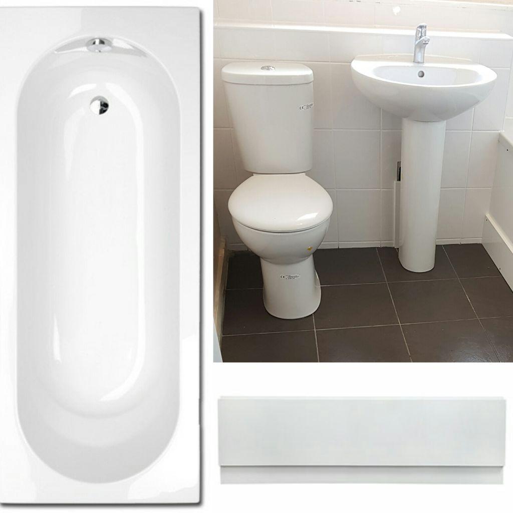 Bathroom suites glasgow - New Complete White Bathroom Suite Toilet Basin Bath Front Bath Panel
