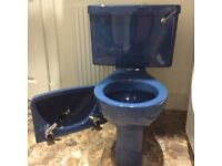 Retro Blue toilet and basin good condition suitable for small or themed toilet