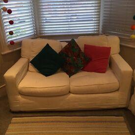 White 2 seat sofa - excellent condition