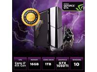 Desktop GAMING PC QUAD Core i7 4th 16GB 1TB WIFI Nvidia GTX 1050TI 4K, VR Ready Win 10 Ideal Xmas PC