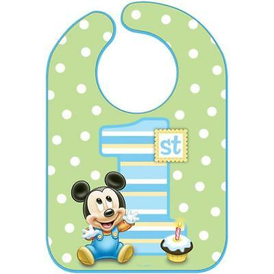 Mickey Mouse 1st Birthday Bib (Mickey Mouse 1st Birthday Vinyl Baby Bib 1 Per Package Birthday Supplies)