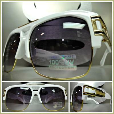 OVERSIZED RETRO HIP HOP RAPPER Style SUNGLASSES White & Gold Frame For Big (Big White Sunglasses)