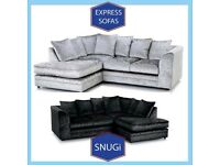 🎬New 2 Seater £169 3S £195 3+2 £295 Corner Sofa £295-Crushed Velvet Jumbo Cord Brand ⲡI1