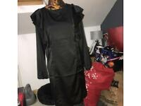 Boohoo black ruffle dress size 10