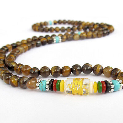 (6mm Tibetan Buddhist 108 Tiger's Eye Prayer Beads Lama Amulet Necklace/Bracelet)