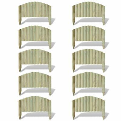 vidaXL 10x Lawn Log Panel 55cm Wood Arched Garden Edgings Border Palisade