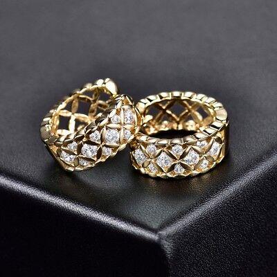 18K Gold Filled CZ Crystal Women Small Hoop Fashion Wedding Celtic Knot Earrings