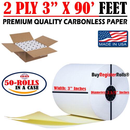 "2 Ply Carbonless Receipt Paper Rolls 3"" x 90"