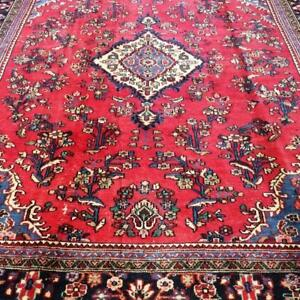 Hamedan Antique Persian Rug, Handmade Carpet, Wool, Red, Beige, Blue, Green & Burgundy Size: 11.7 X 8.7 ft