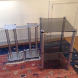 Apollo glass and stainless steel stereo shelves and Apollo stainless steel speaker stands