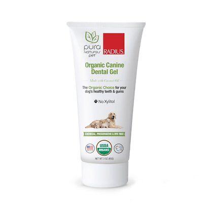 Radius Pura Naturals Pet Organic Canine Dental Gel Dog Oral Toothpaste   3 Oz
