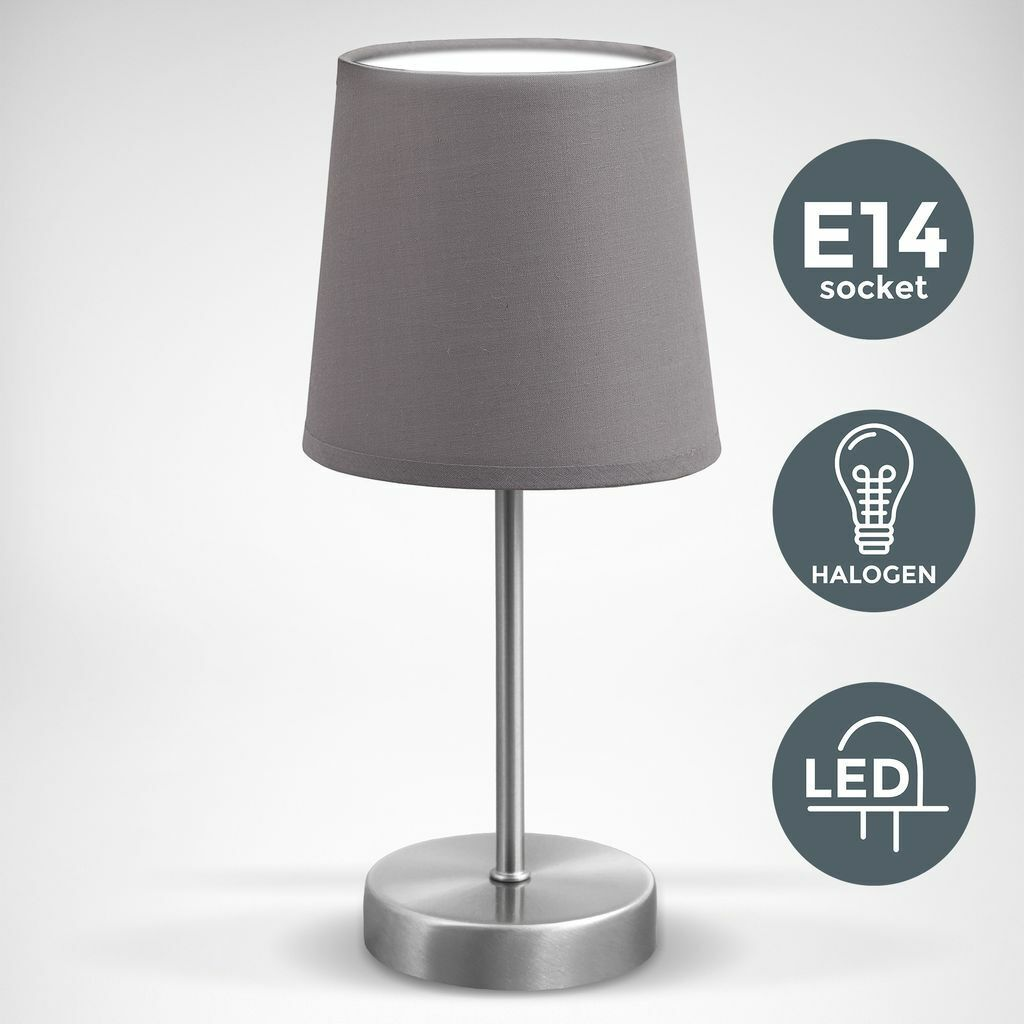Tisch-Leuchte Stoff Dekolampe Nachttisch-Leuchte Wohnzimmerlampen E14 grau LED