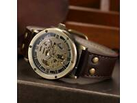 Steampunk Skeleton Mechanical Automatic Wrist Watch Men Accessories Fashion Luxury Royal