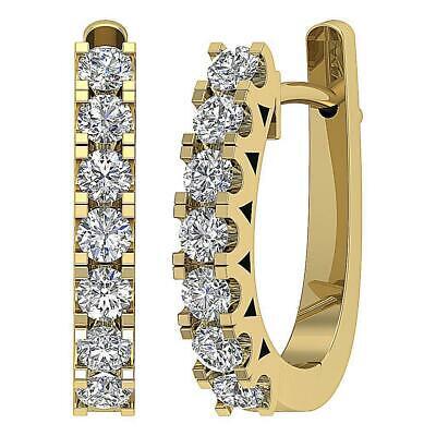 Hoop Earrings Natural Diamond SI1 G 1.00 Ct 14K White Gold 0.70 Inch Prong Set