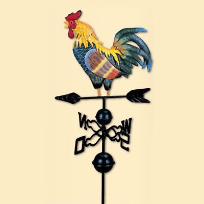 47inch Rooster Rain Guage with Weather Vane for Garden Yard Decor