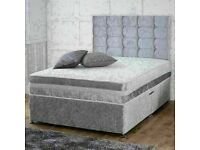 🔵💖🔴HIGH SELLING RANK IN UK🔵💖🔴CRUSH VELVET Divan DOUBLE BED ALL SIZE AVAILABLE SINGLE KING SIZE