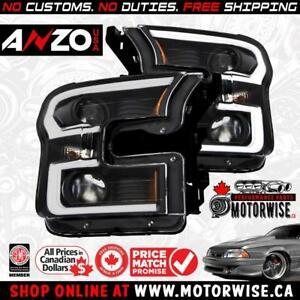 Anzo 2015-2017 Ford F-150 LED Outline Projector Headlights | Black Housing | Shop & Order at www.motorwise.ca |