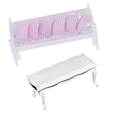 1:12 Puppenhaus Mini Wohnzimmer Möbel Dekor Tisch & Long Stuhl Set (Dekor-tisch Wohnzimmer)