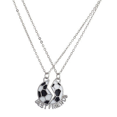 Lux Detachable Soccer Ball Best Friends BFF Sports Charm Necklace Set( 2 Pc )