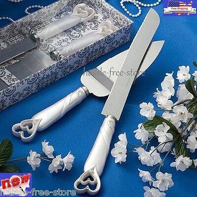 Elegant Wedding Party Cake Stainless Knife and Server Set Interlocking Hearts