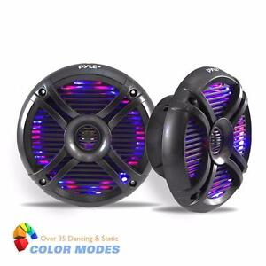 "PYLE PLMR68LE 6.5"" 250 WATT WATERPROOF AUDIO MARINE SPEAKERS W/BUILT-IN PROGRAMMABLE MULTI-COLOUR LED LIGHTS - (PAIR)"