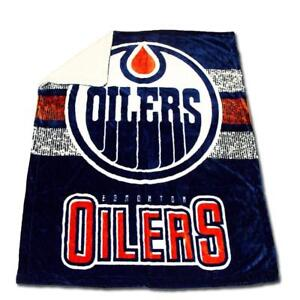 New NHL Ice Hockey Edmonton Oilers Ultimate Sherpa Plush Throw Blanket Official