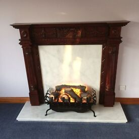Striking Portugese Marble Hearth & Slip with Wooden fire surround and Mantle