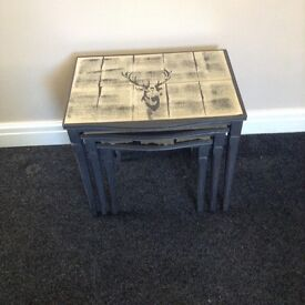 Grey nest of tables quirky, shabby chic stag detail
