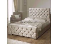 LIMITED TIME OFFER- BRAND NEW CHESTERFIELD CRUSHED VELVET BED FRAME SILVER, BLACK AND CREAM COLORS