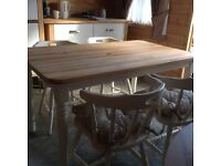 SHABBY CHIC CREAM PINE KITCHEN TABLE & 4 CHAIRS