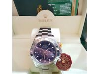 New mens bagged & boxed rolex daytona with silver strap & blue face