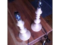 2 solid wood lathe turned lamps