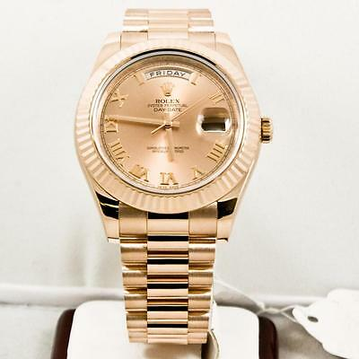 Rolex 41mm 18k Rose Gold Day Date II Model 218235 Rose Roman Face & Fluted Bezel