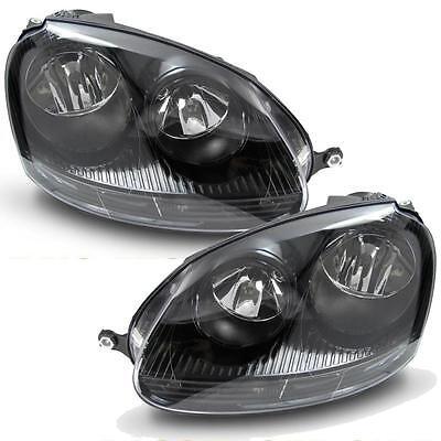 VW GOLF MK5 2003-2009 GTI TYPE BLACK HEADLAMPS HEADLIGHTS HALOGEN PAIR NEW